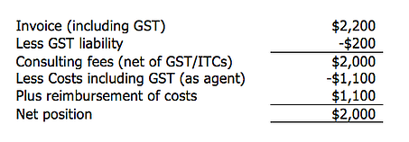GST and Reimbursement of Expenses Scenario 3 - contractor GST liability